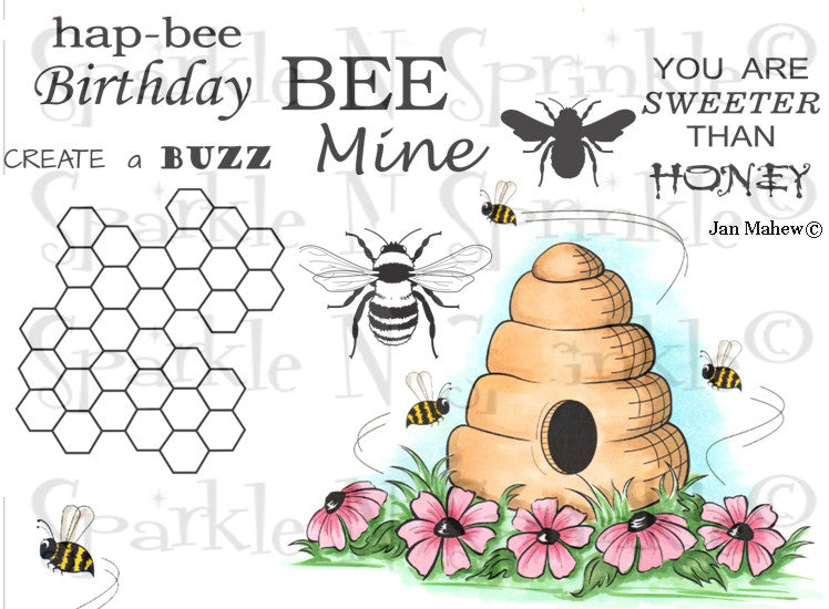 Honey Bees Rubber Stamp Set [00-775P5]