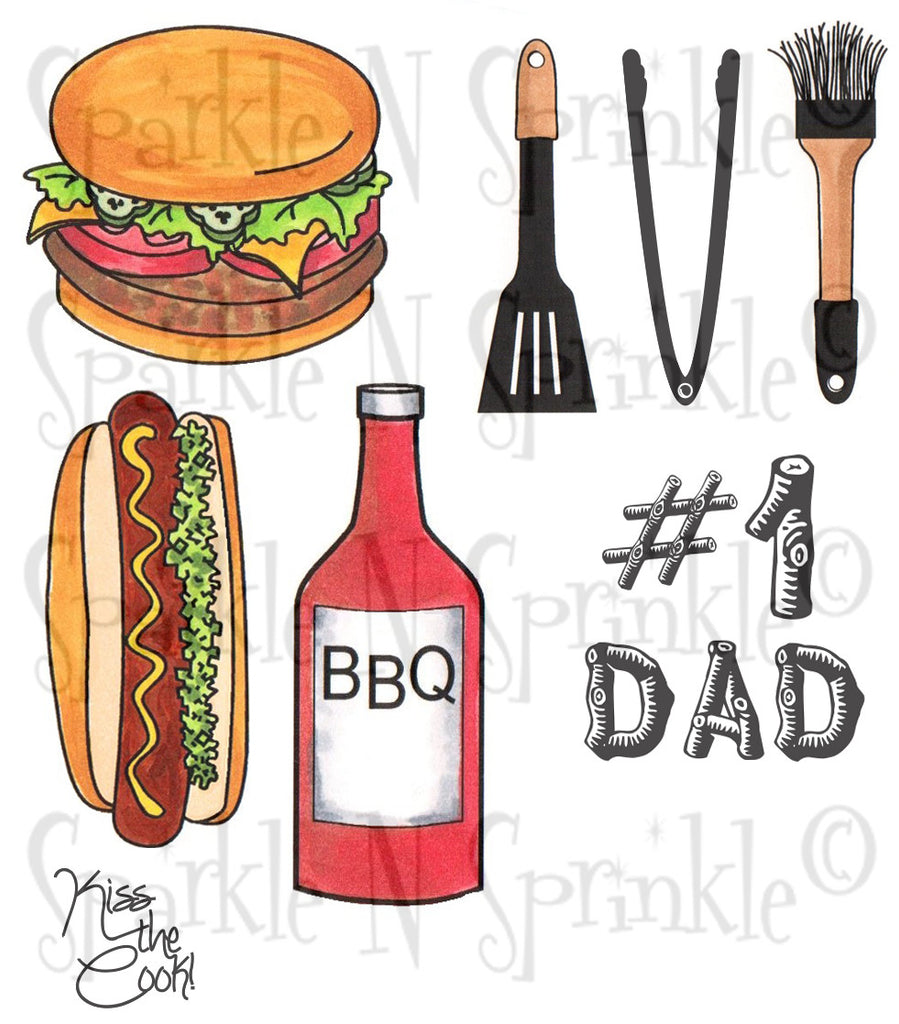 Summer Grilling #1 Rubber Stamp Set [00-780P7]