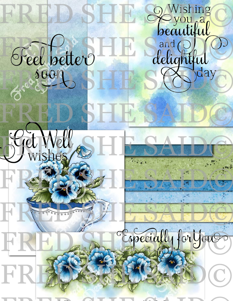 Blue Pansies Digi Bundle Pack with extras [Digi3130FS]