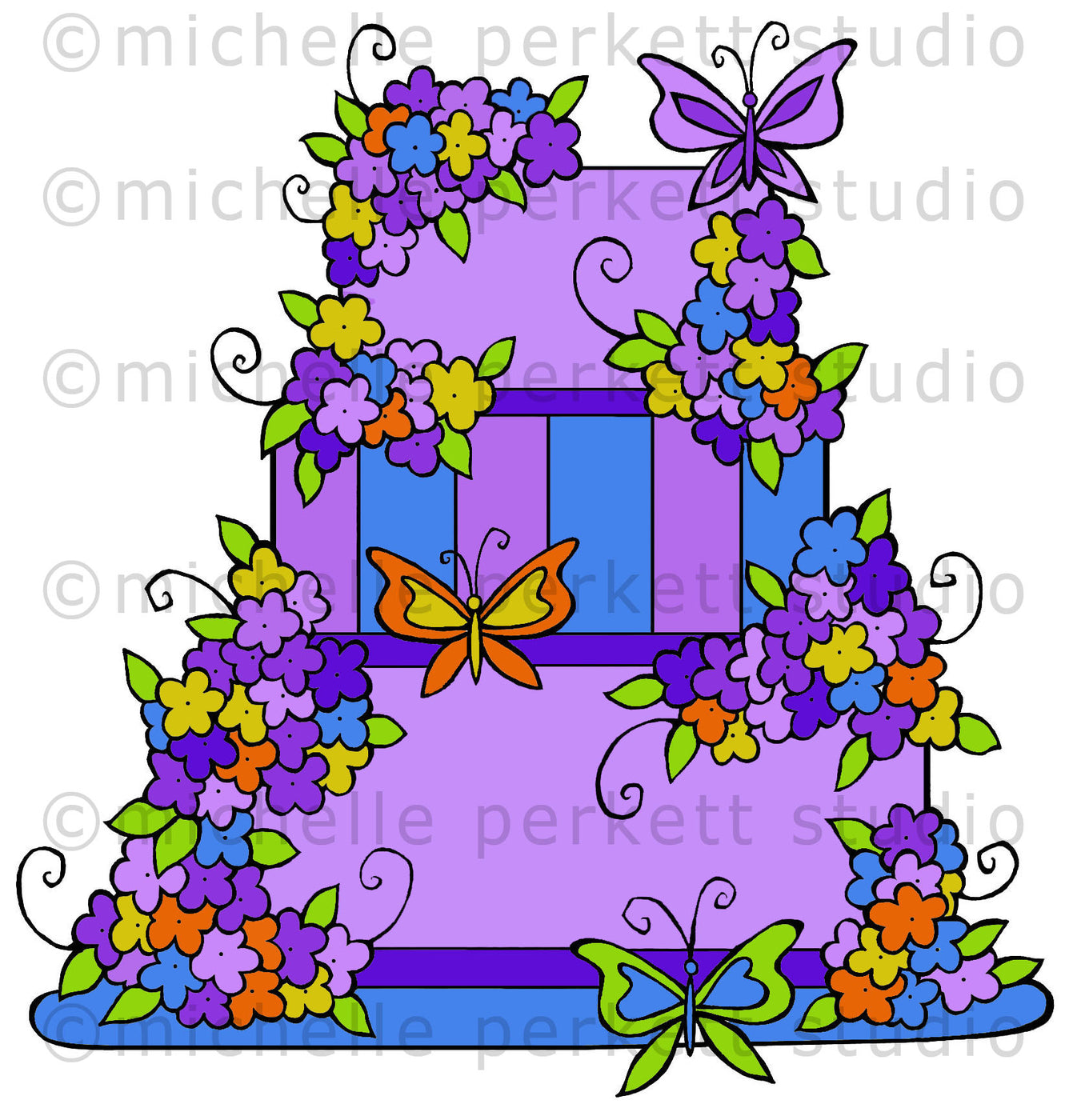 Butterfly Birthday Wedding Cake