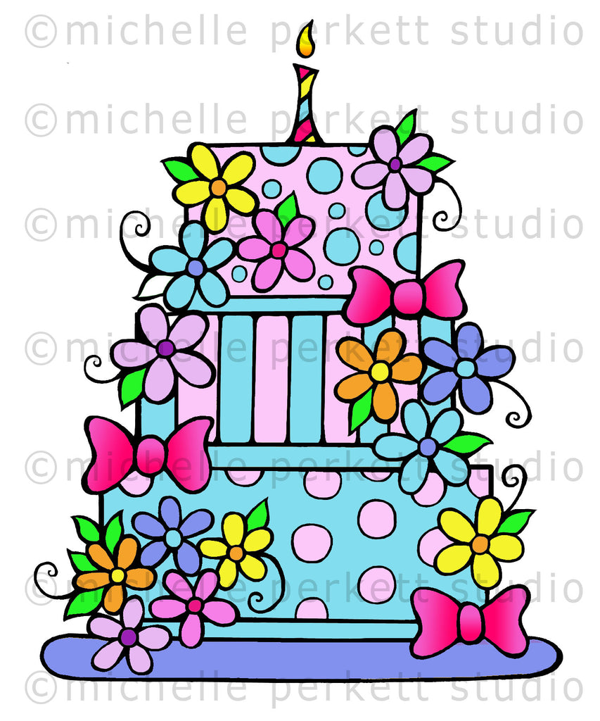 Daisy Birthday Wedding Cake Digital Stamp  [Digi3138M]