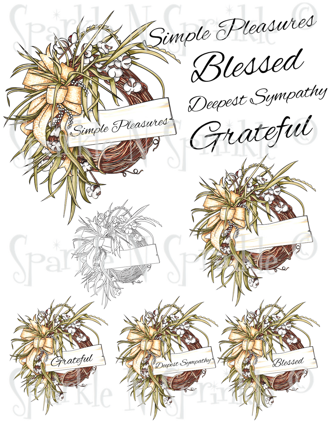 Fall Cotton Wreath Digital Stamp Set [DIGI3150J]