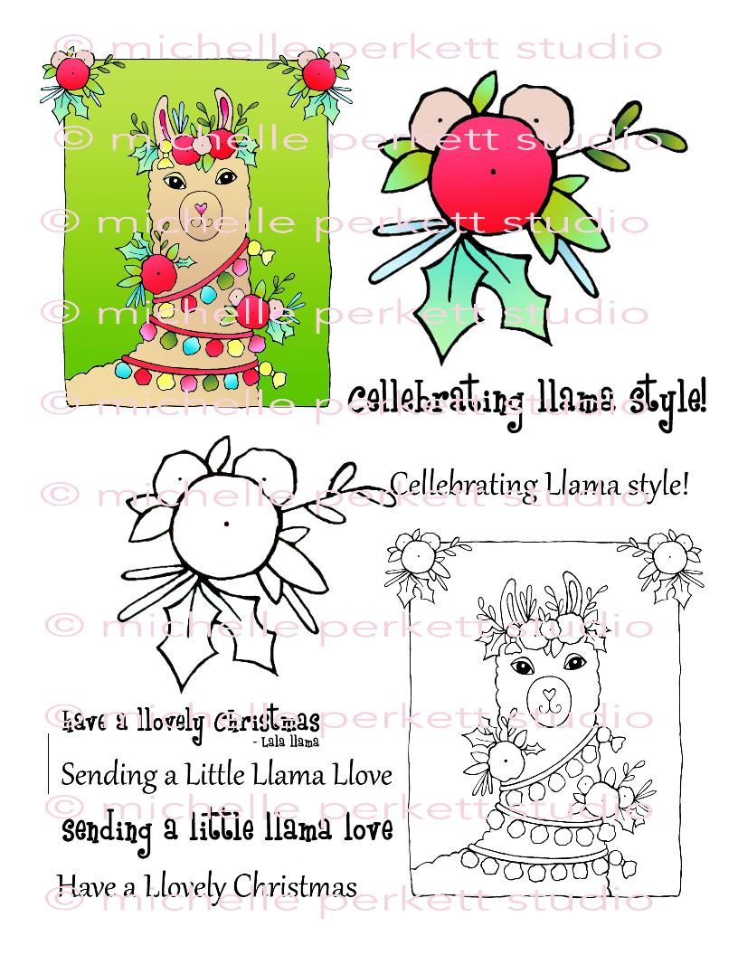 Christmas Llama Digital Stamp Set, Digi3164MP