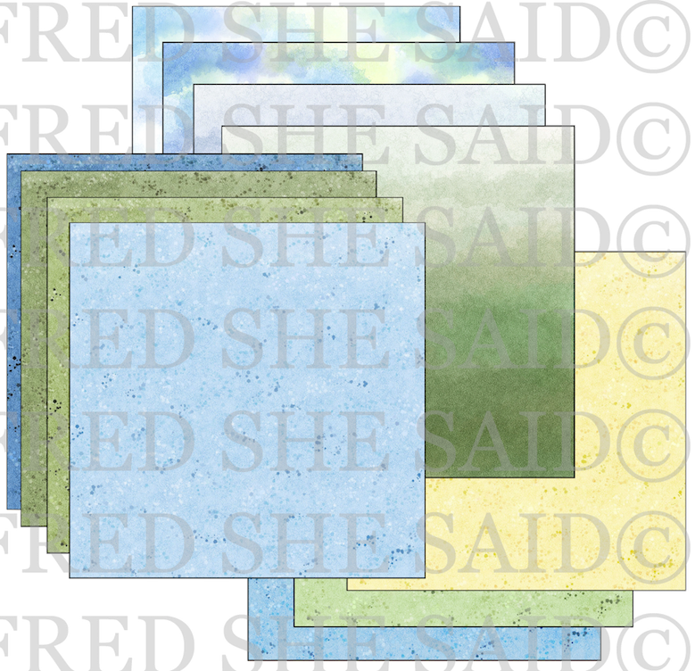 Digital Paper Blue & Green Watercolor Papers 12x12 [Digi4002FS]