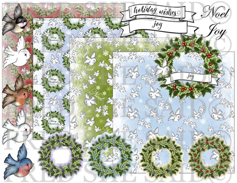 Winter Greetings Bird & Wreath Digital Stamp Set [DIGI855FS]