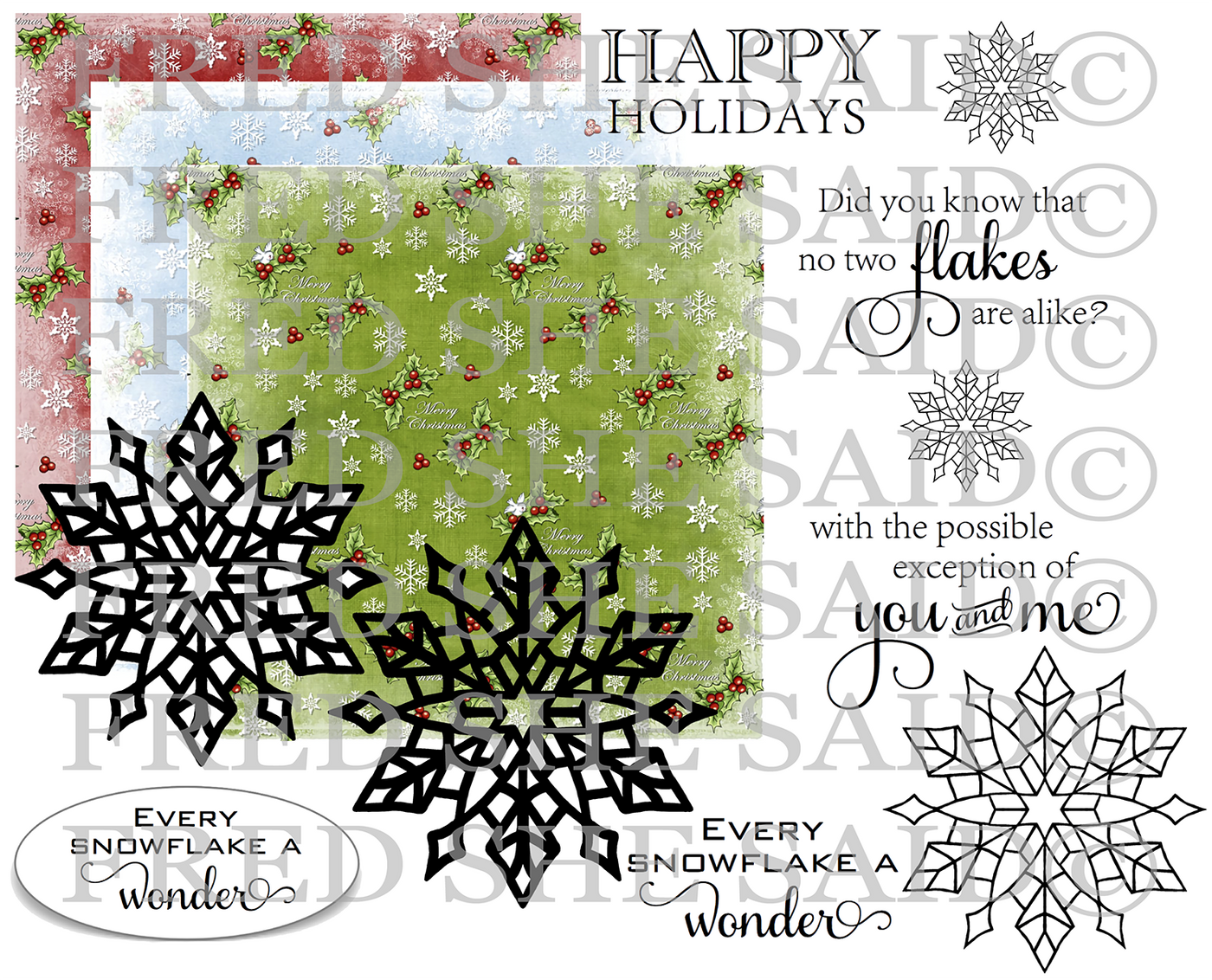 Crystal Snowflakes Digital Stamp [DIGI868FS]
