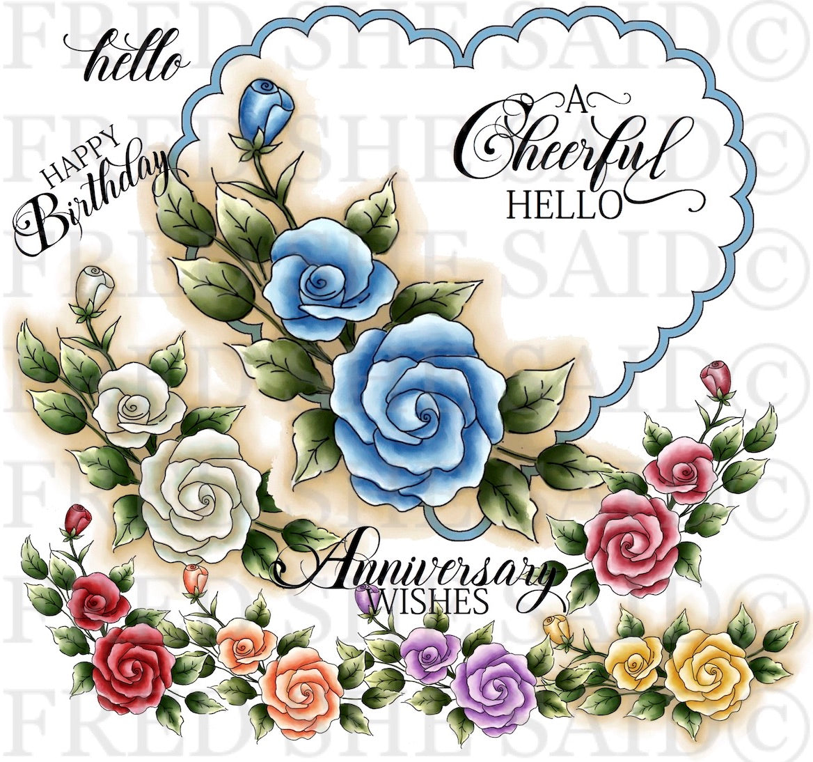 Roses in My Heart Digital Stamp Set [Digi879FS]