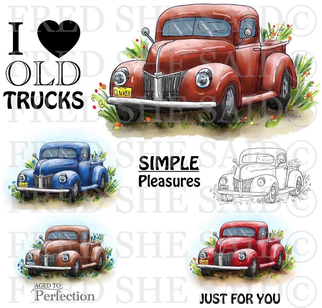 I Love Old Trucks Digital Stamp Set [DIGI890FS]