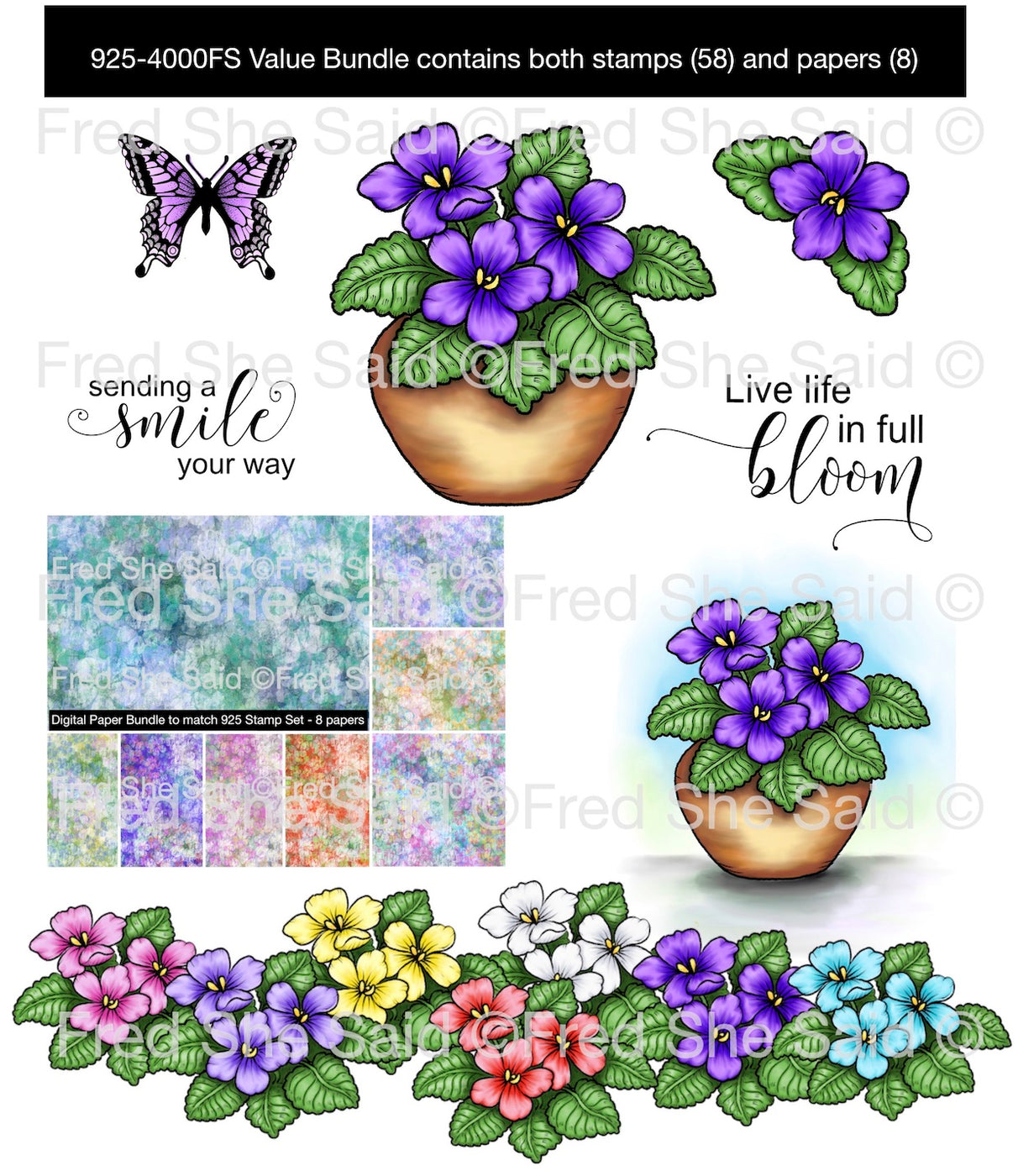 New   Violets for You Digital Stamp Set Bundle [DIGI925-4008FS]