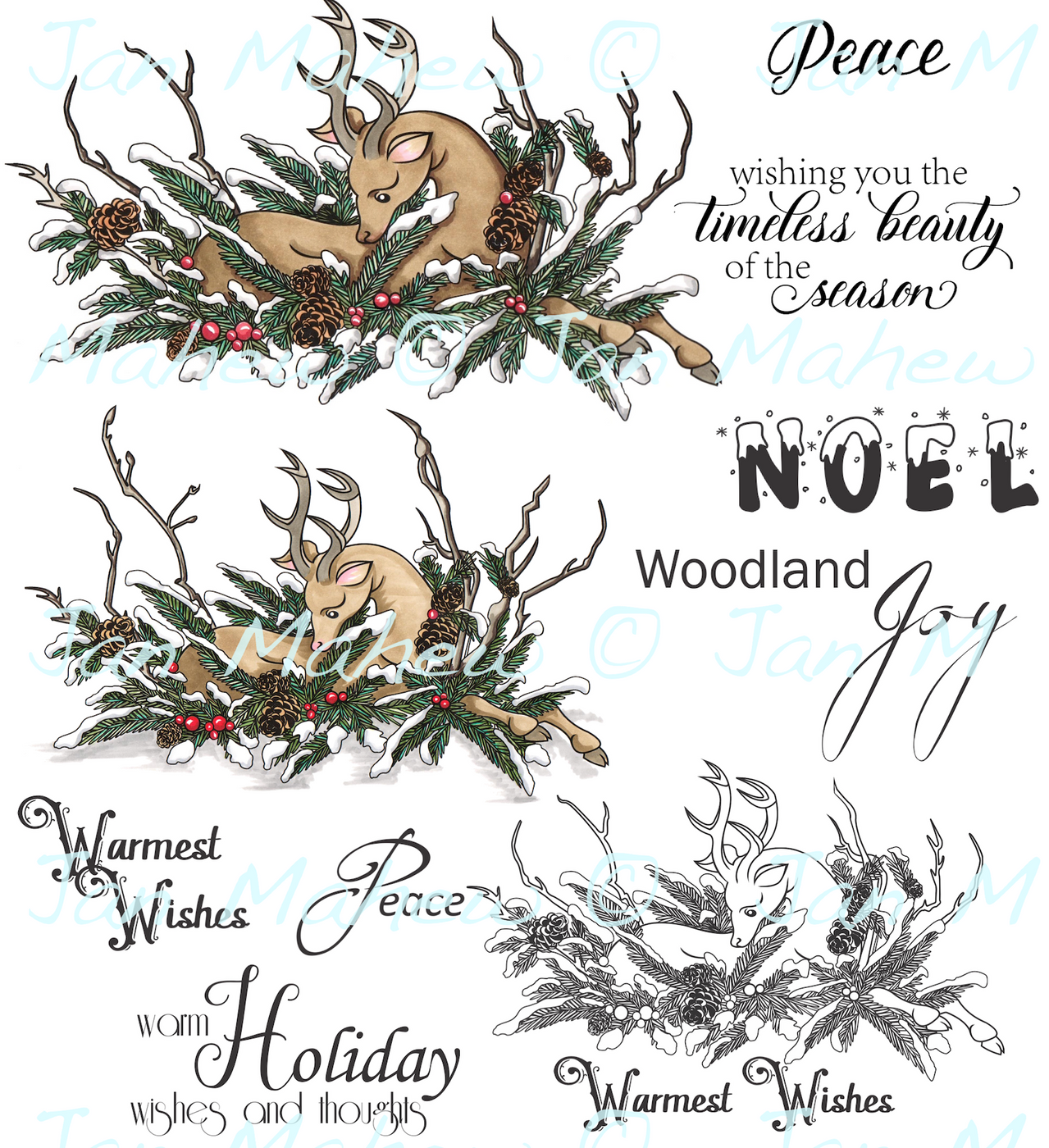 Winter Deer Digital Stamp Set, DIGI935J