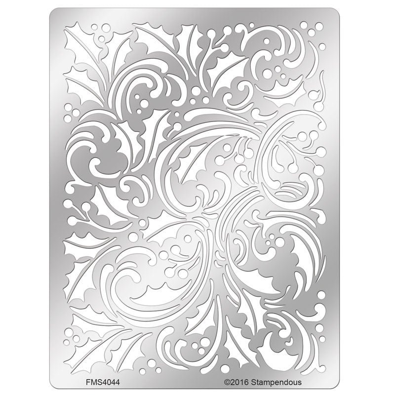 Holly Scroll Metal Stencil [FMS4044]