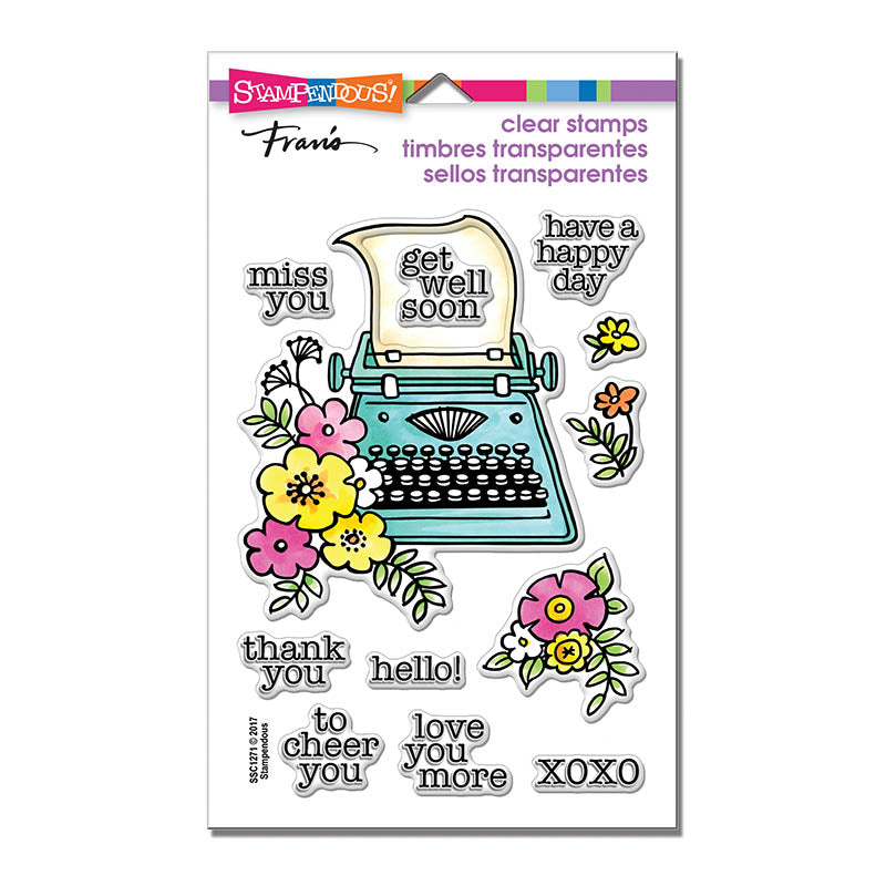 Floral Typewriter Cling Stamp Set [SSC1271]