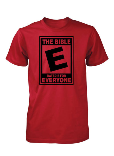 The Bible Rated E Everyone Christian T-Shirt for Men