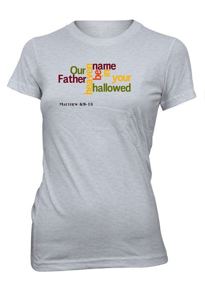 Our Father in Heaven Jesus God Prayer Word Cloud Christian Tshirt for Juniors