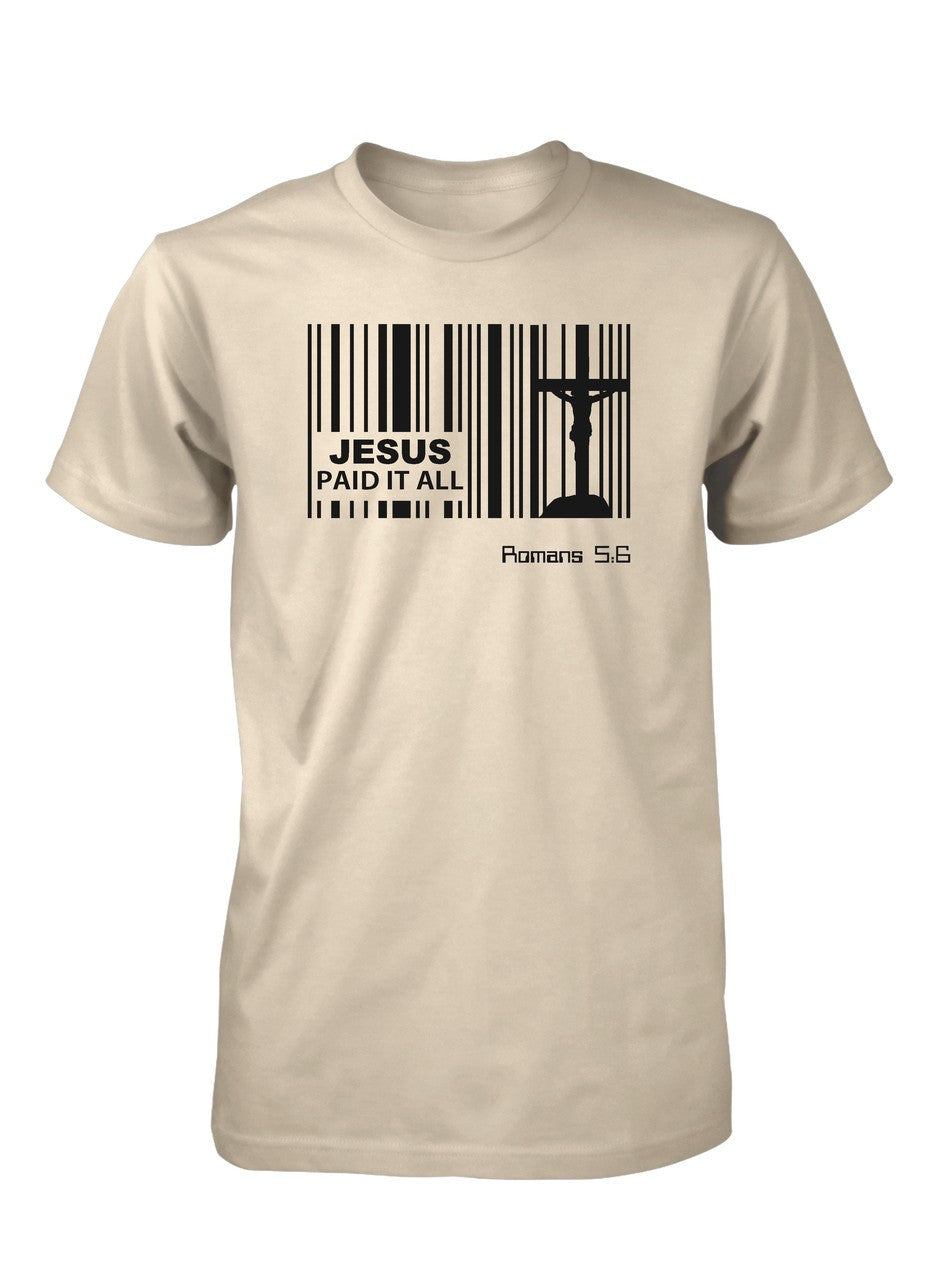Jesus Paid Price Bar Code God Easter Christian T-shirt for Men