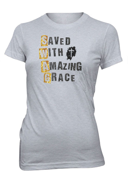 Saved With Amazing Grace SWAG Christian T-shirt for Juniors