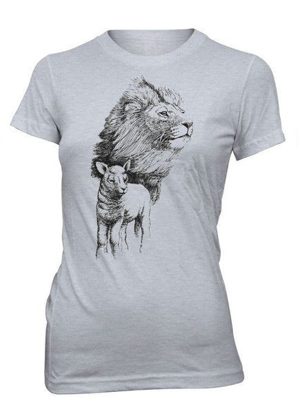 Jesus Lion Lamb Animals Shirt Christian T-Shirt for Juniors