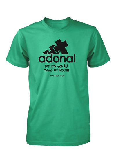 Adonai All Things Possible God Bible Verse Christian T-shirt for Men