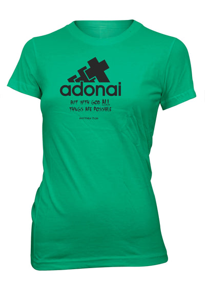 Adonai All Things Possible Green T-shirt for Juniors | Aprojes