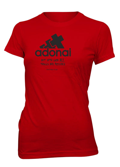 Adonai All Things Possible Red T-shirt for Juniors | Aprojes