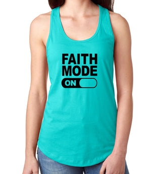 Faith Mode On Inspirational Christian Racerback Tank Top for Juniors