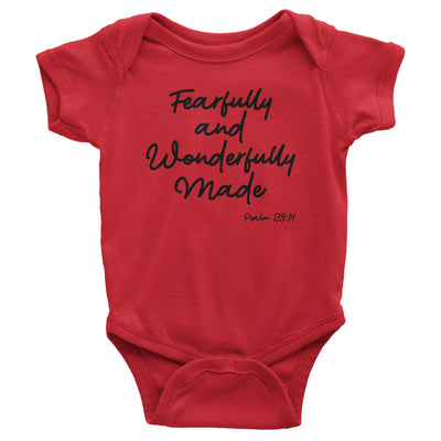 Fearfully and Wonderfully Made Baby Red Bodysuit | Christian Baby Gifts | Aprojes