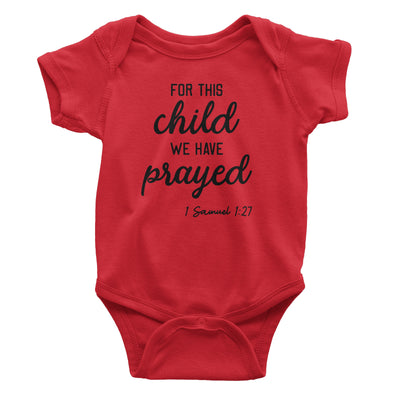 For This Child We Have Prayed Baby Red Bodysuit | Christian Baby Gifts | Aprojes