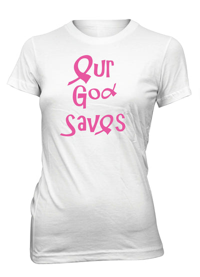 Our God Saves Breast Cancer Awareness Pink Ribbon Christian T-Shirt for Juniors