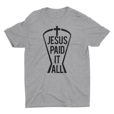 Jesus Paid It All Heather Gray Short Sleeve Crewneck Christian T-Shirt Men