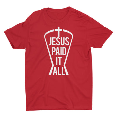 Jesus Paid It All Red Short Sleeve Crewneck Christian T-Shirt Men