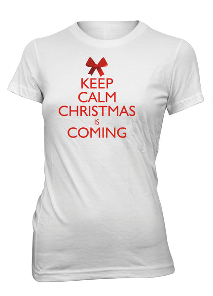 Keep Calm Christmas Is Coming Jesus Christian T-shirt for Juniors