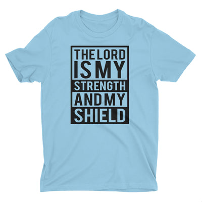 The Lord is my Strength and my Shield Light Blue Short Sleeve Crewneck Christian T-Shirt Men