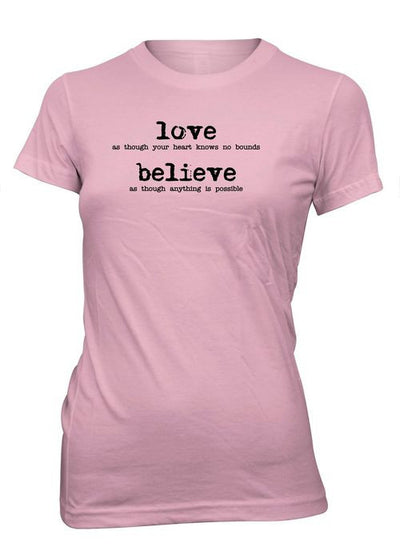 Love Believe Heart Valentine's Day Christian T-Shirt for Juniors
