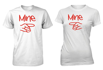 Men's Junior's Mine Couple T-Shirt Love Valentine's Day Matching 2 Pack Tees