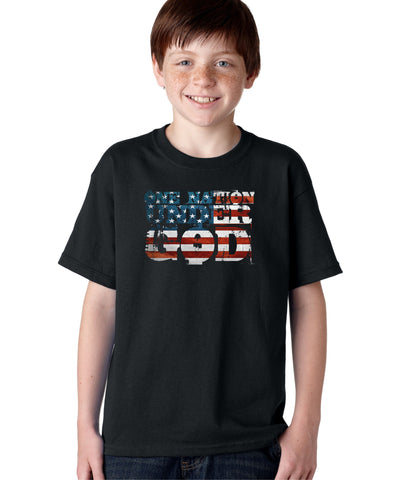 One Nation Under God America Patriot Pledge Of Allegiance USA Flag T-shirt for Kids