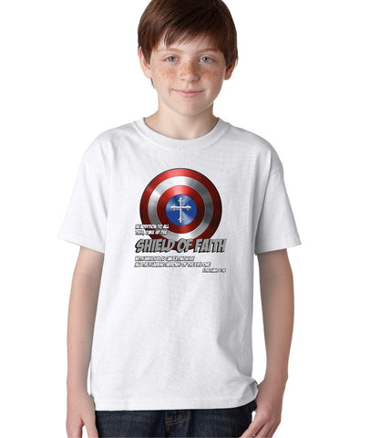 Shield of Faith Jesus God Comics America Hero Christian Tshirt for Kids