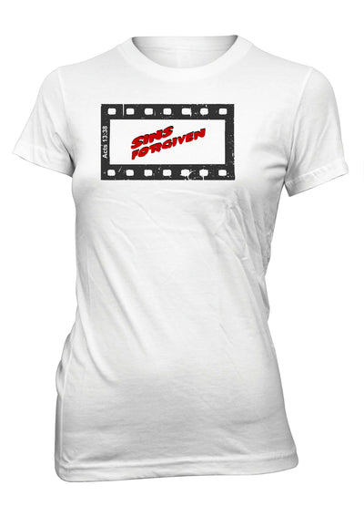 Sins Forgiven Movie Filmstrip Christian T-shirt for Juniors