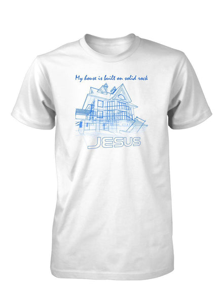 House Solid Rock Jesus Architecture Blueprint Christian T-Shirt for Men