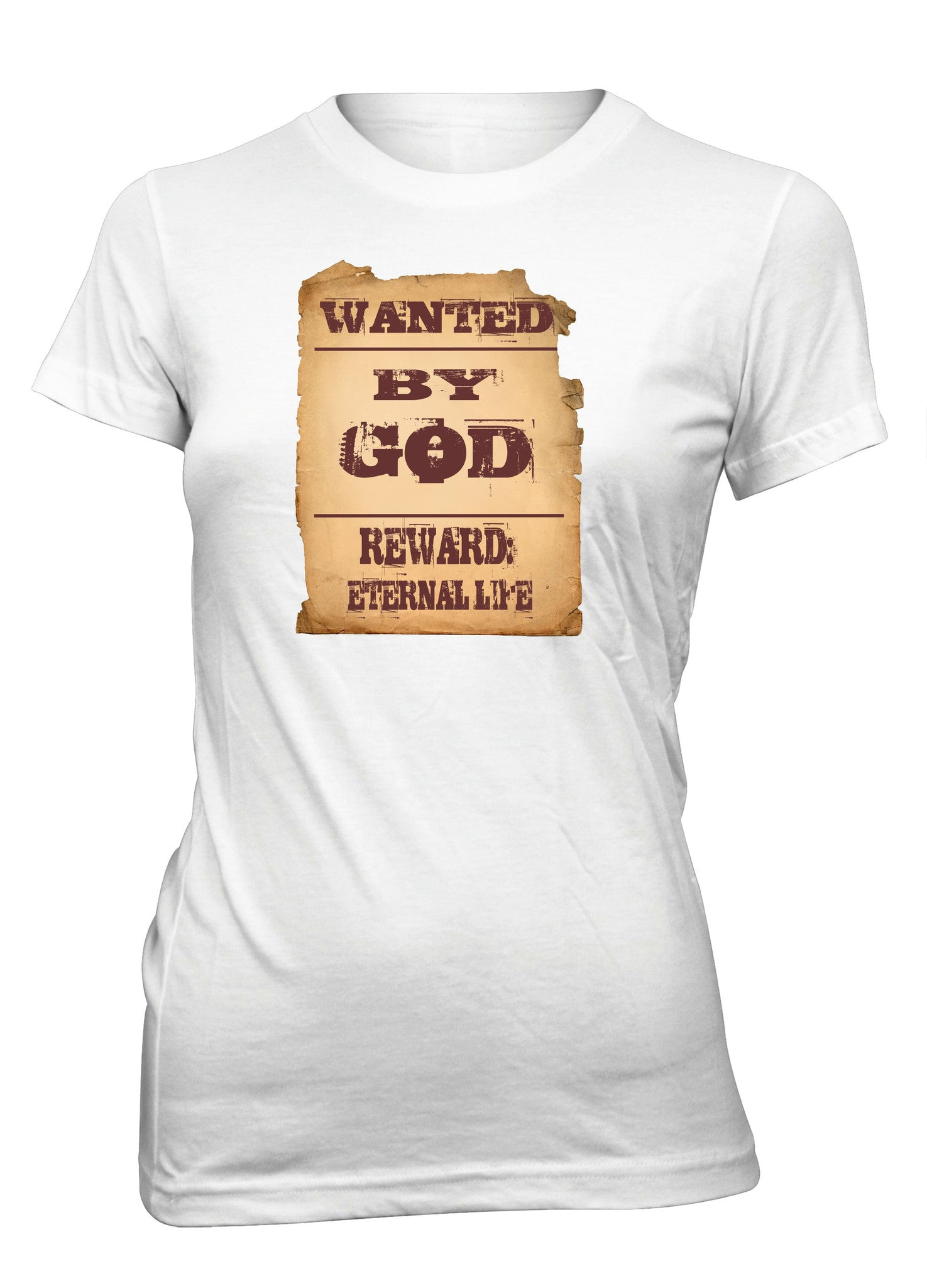 Wanted By God Reward Eternal Life Wild West Christian T-Shirt for Juniors