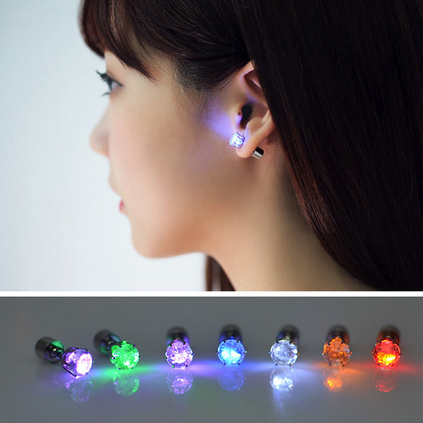 1PC New Arrival  LED Earring Light Up Crown Crystal Ear Stud Earrings Party Pub Accessories for Men Women FEAL E97