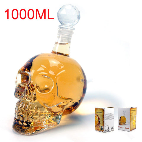 Crystal Skull Head Decanter Bottle - Creative Glass Skull Vodka Bottle 1000ML with 75ml Shot Glass Cup