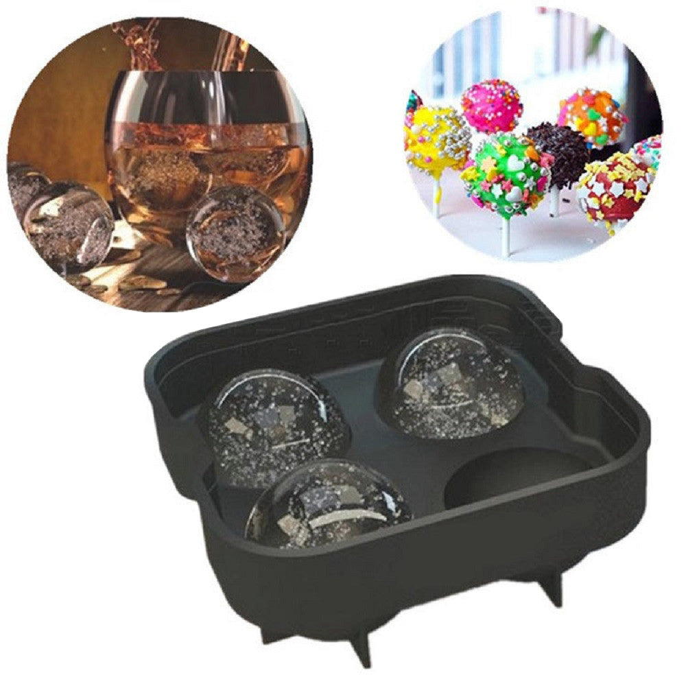Old Jim Daniels - Ice Balls Maker Mold - Black Flexible Silicone Ice Tray - Molds 4 X 4.5cm Ice Spheres