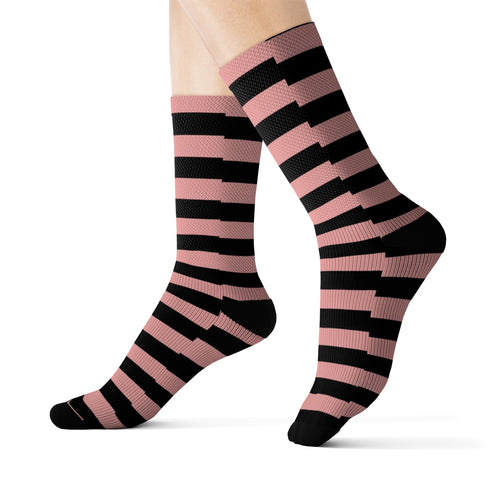 Pink and Black Striped Socks