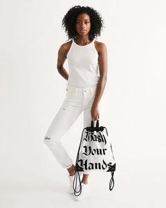 Public Warning Canvas Drawstring Bag