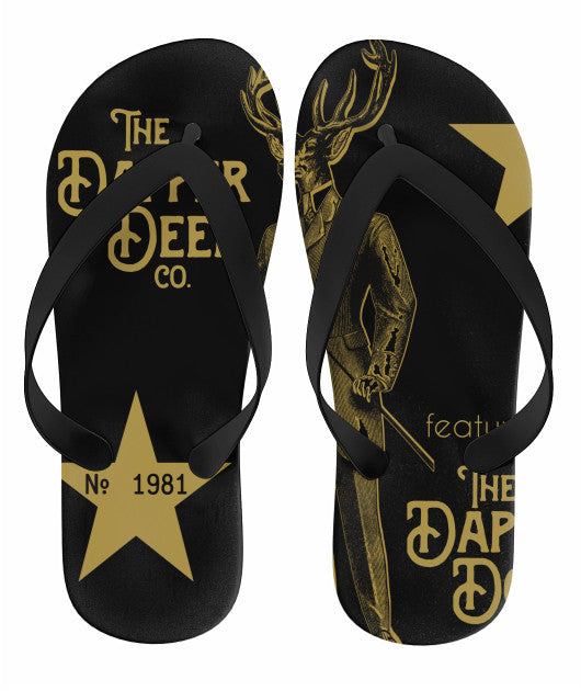 Black and Gold Flip Flops