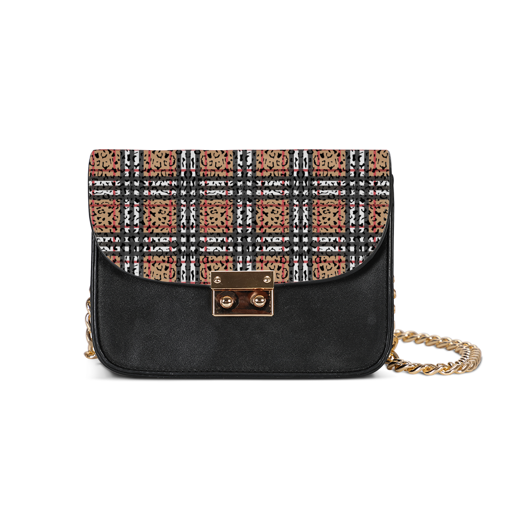 Plaid & Leopard Small Shoulder Bag