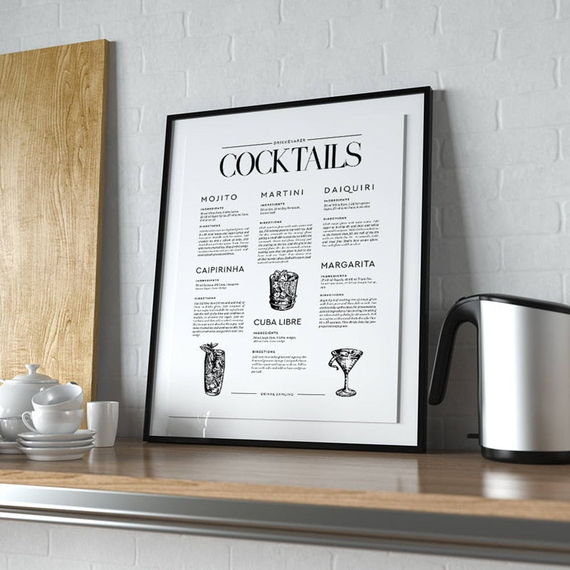 Cocktails Posters And Prints Art Canvas Painting Wall Pictures Kitchen Bar Cart Dorm Wall Art Decorations