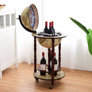 "Goplus 17"" Wood Globe Wine Bar Stand Liquor Bottle Shelf Cart 16th Century Italian Rack HW58775"