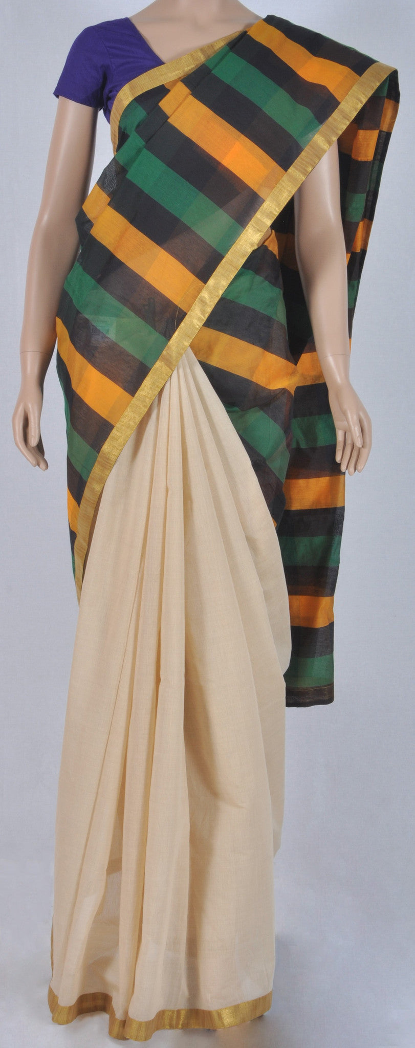 Designer silk cotton sandal colour half & half sari with bright stripes