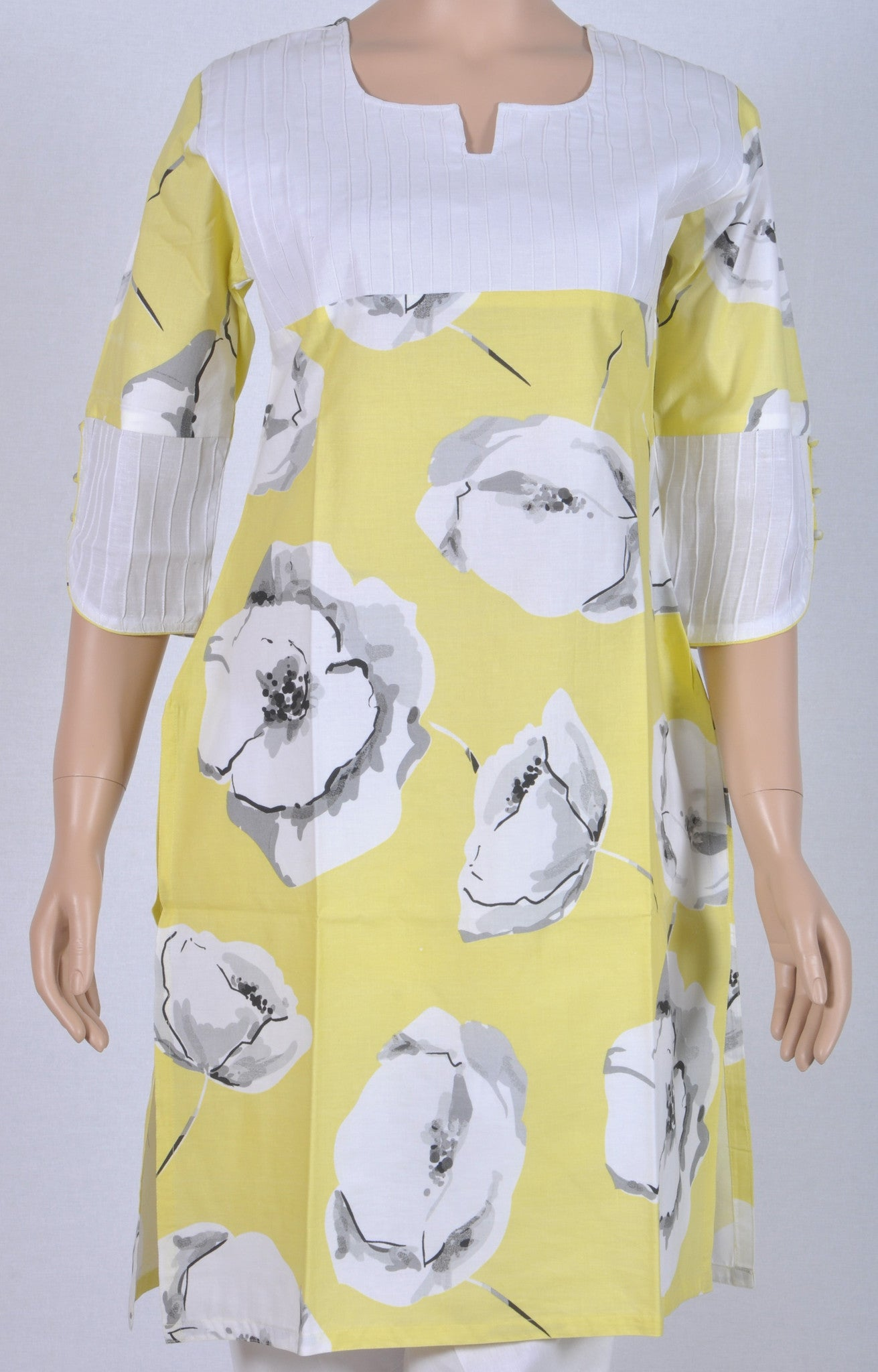 Lemon yellow printed floral kurtha with pin tuck front panel